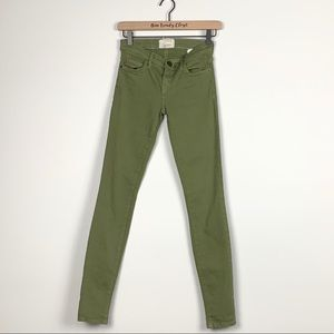 Current/Elliott   The Ankle Skinny Army Green Jean